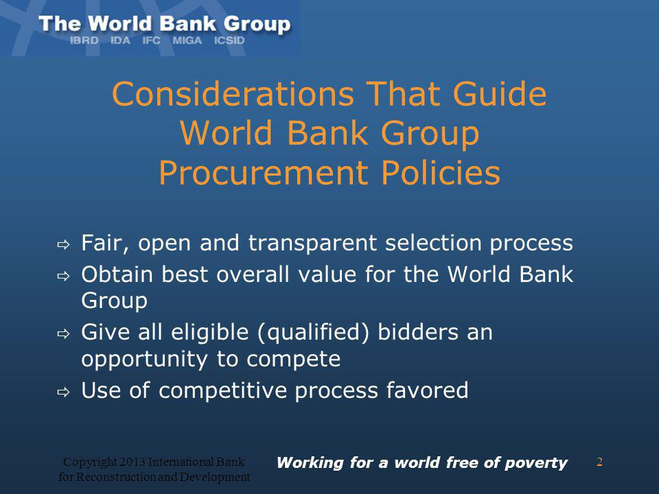 Considerations That Guide World Bank Group Procurement Policies