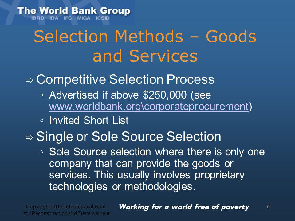 Selection Methods – Goods and Services