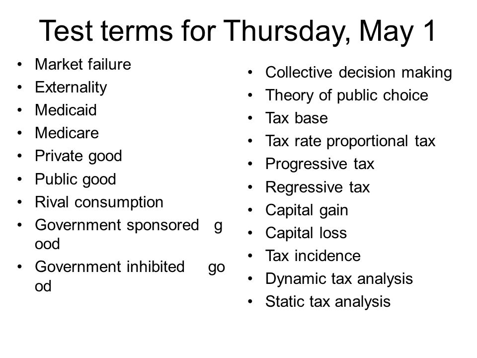 Test terms for Thursday, May 1