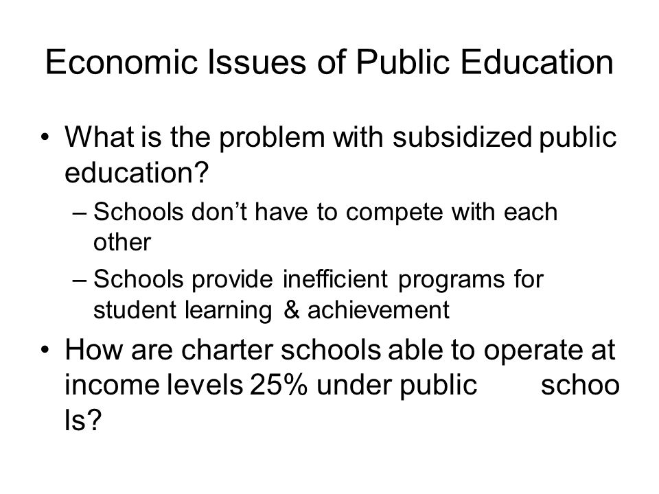 Economic Issues of Public Education
