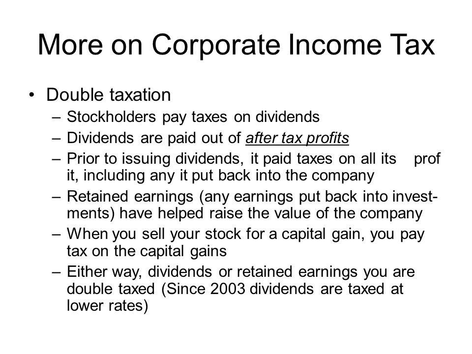 More on Corporate Income Tax