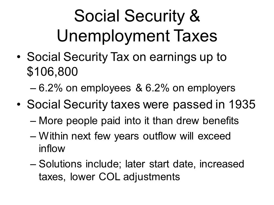 Social Security & Unemployment Taxes