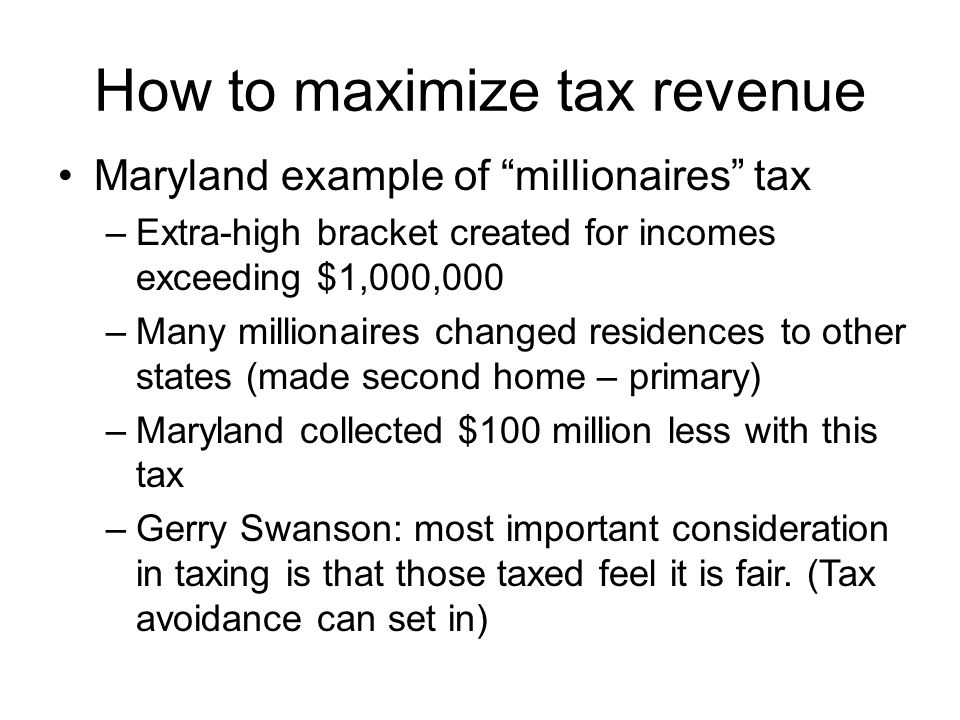 How to maximize tax revenue