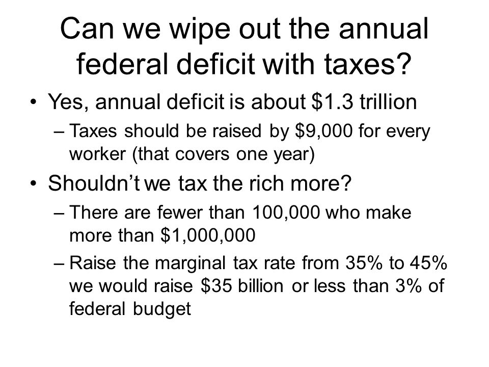 Can we wipe out the annual federal deficit with taxes