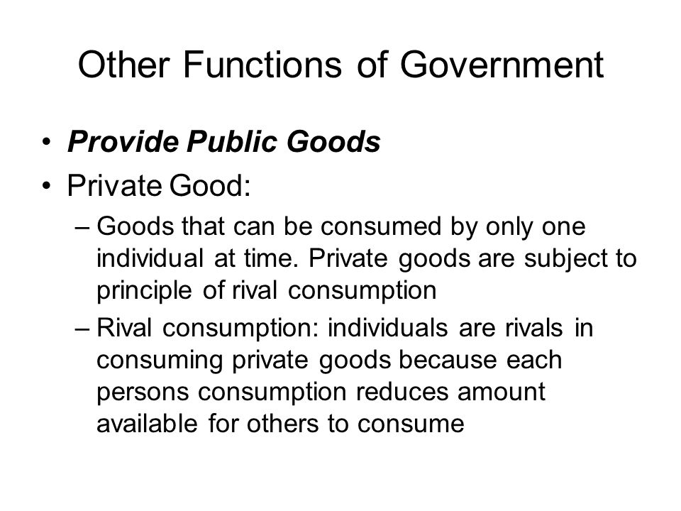Other Functions of Government