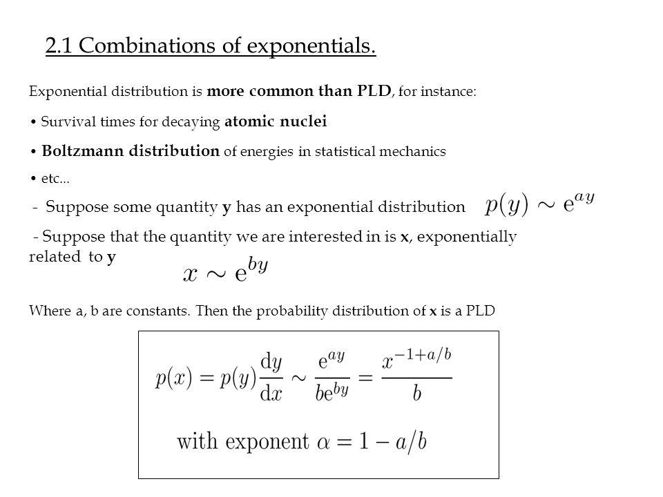 2.1 Combinations of exponentials.