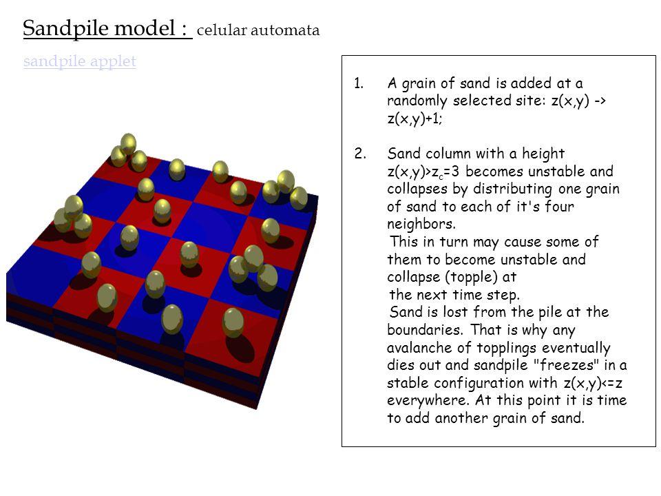 Sandpile model : celular automata