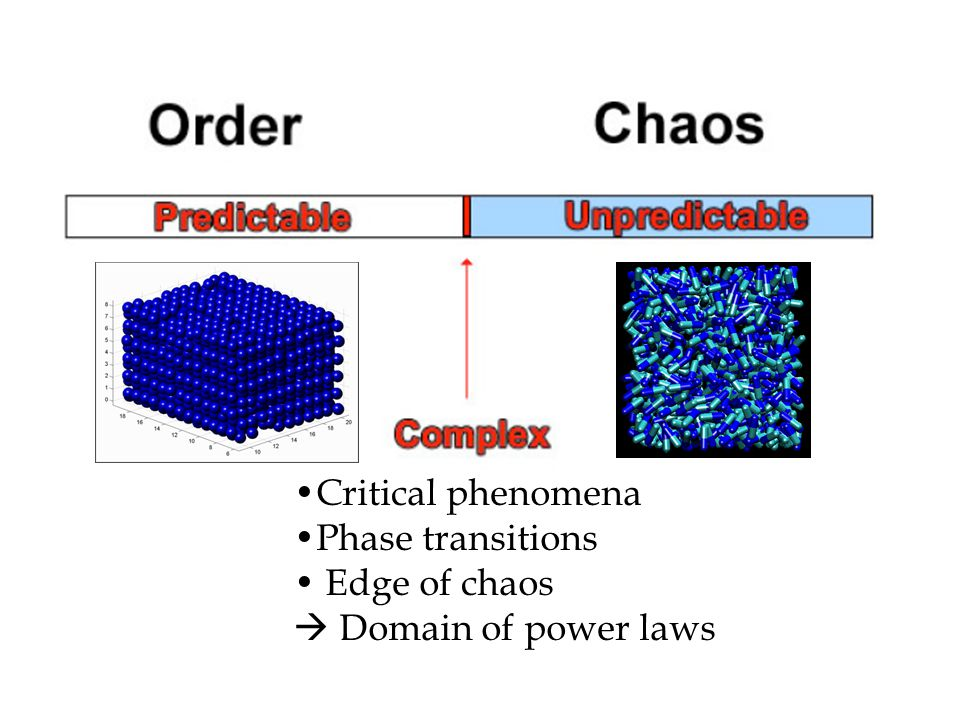 Critical phenomena Phase transitions Edge of chaos  Domain of power laws
