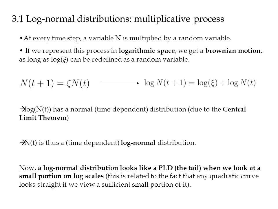 3.1 Log-normal distributions: multiplicative process