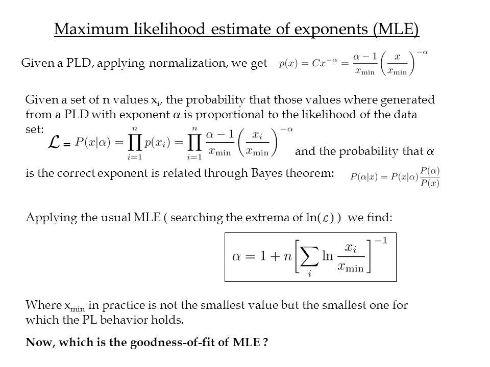 Maximum likelihood estimate of exponents (MLE)