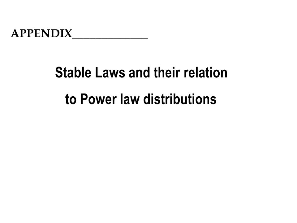 Stable Laws and their relation to Power law distributions
