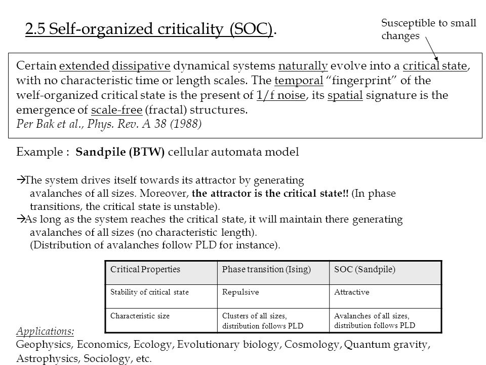 2.5 Self-organized criticality (SOC).