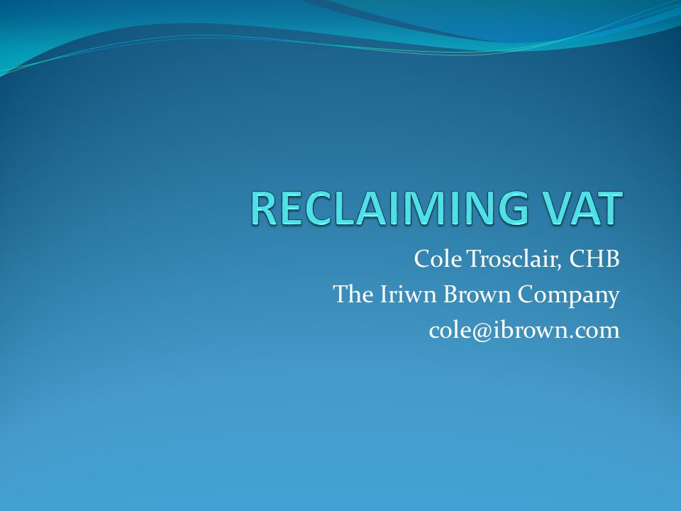 Cole Trosclair, CHB The Iriwn Brown Company cole@ibrown.com