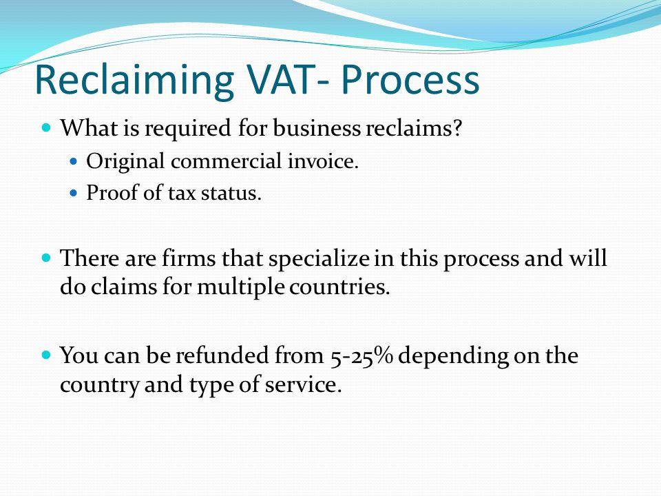 Reclaiming VAT- Process