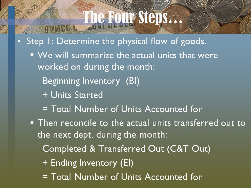 The Four Steps… Step 1: Determine the physical flow of goods.