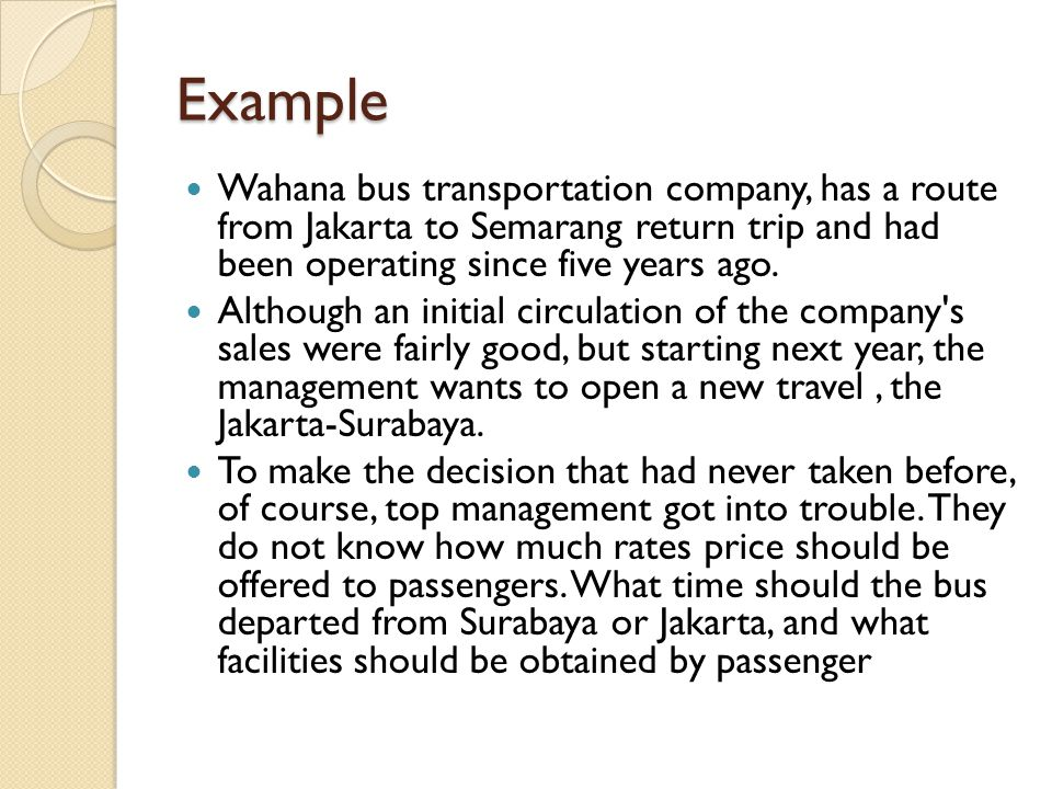 Example Wahana bus transportation company, has a route from Jakarta to Semarang return trip and had been operating since five years ago.