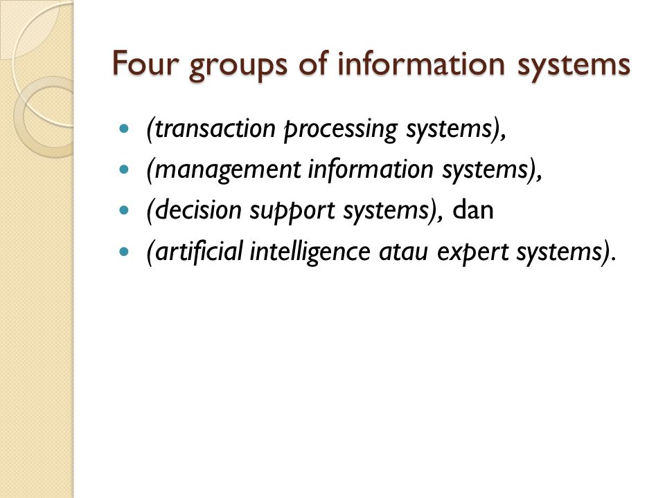 Four groups of information systems