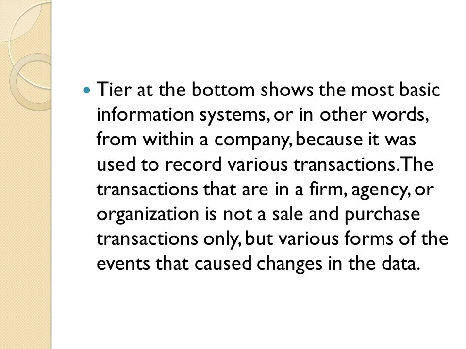 Tier at the bottom shows the most basic information systems, or in other words, from within a company, because it was used to record various transactions.