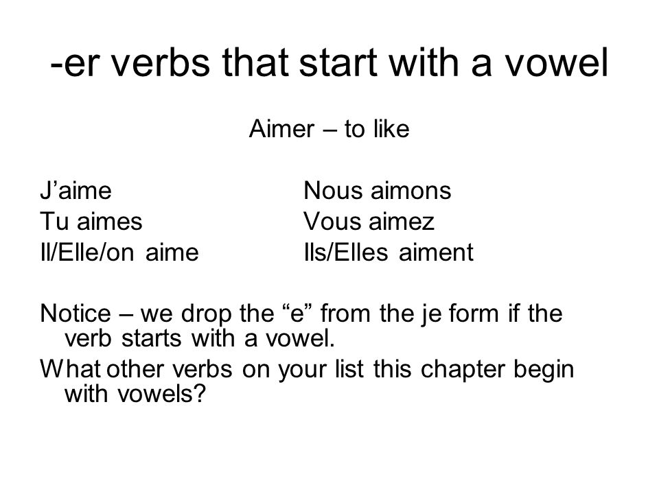 -er verbs that start with a vowel