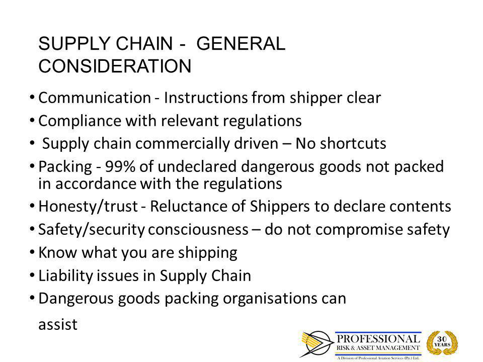 SHIPPER'S RESPONSIBILITY GENERAL REQUIREMENTS