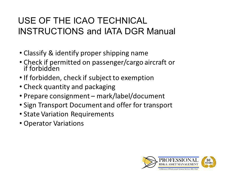 LIMITATIONS OF DANGEROUS GOODS ON AIRCRAFT