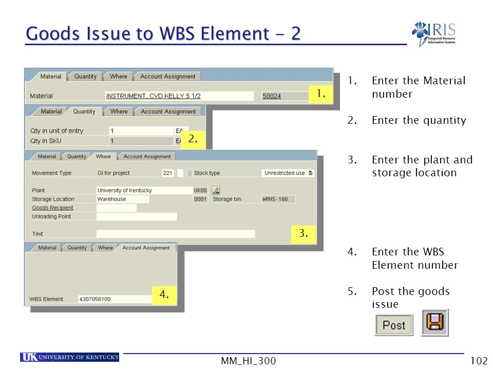 Goods Issue to WBS Element - 2