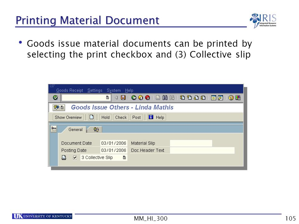 Printing Material Document
