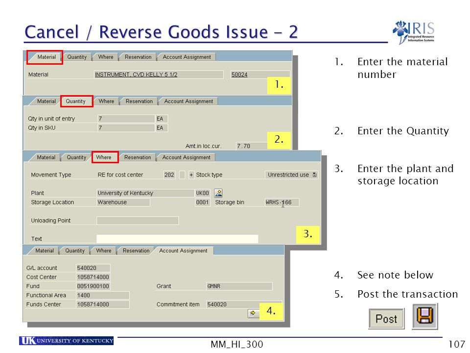 Cancel / Reverse Goods Issue - 2