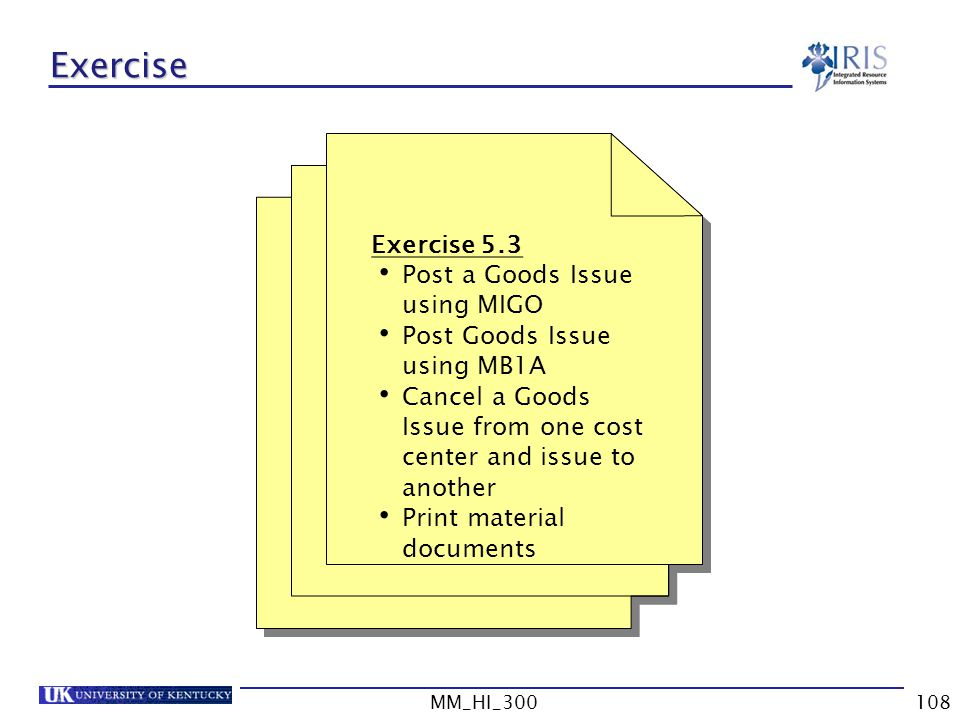 Exercise Exercise 5.3 Post a Goods Issue using MIGO