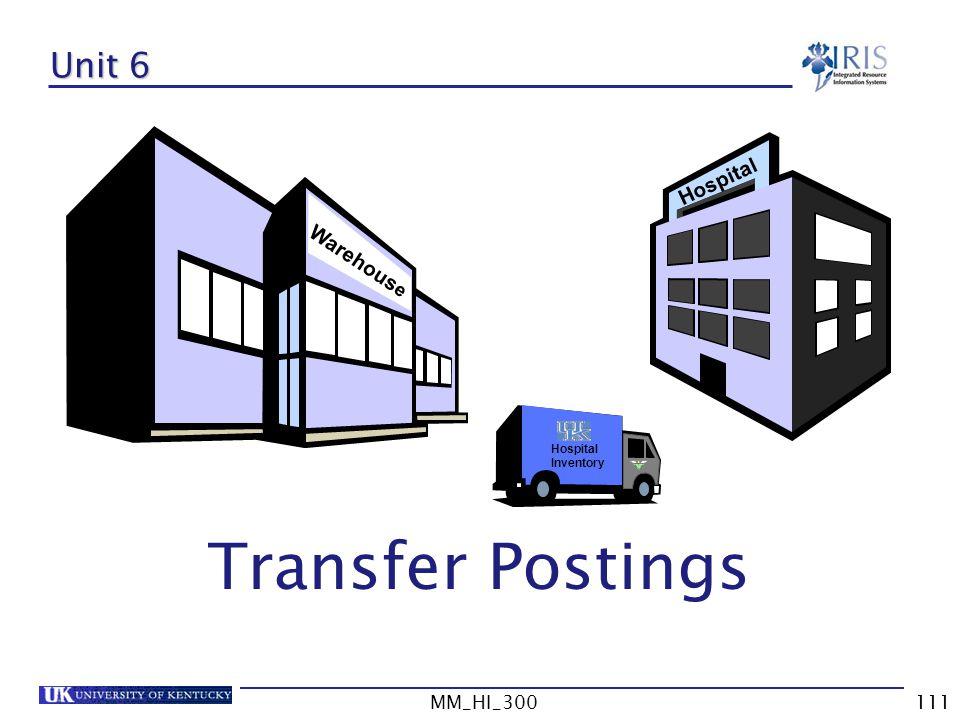 Transfer Postings Unit 6 Hospital Warehouse MM_HI_300