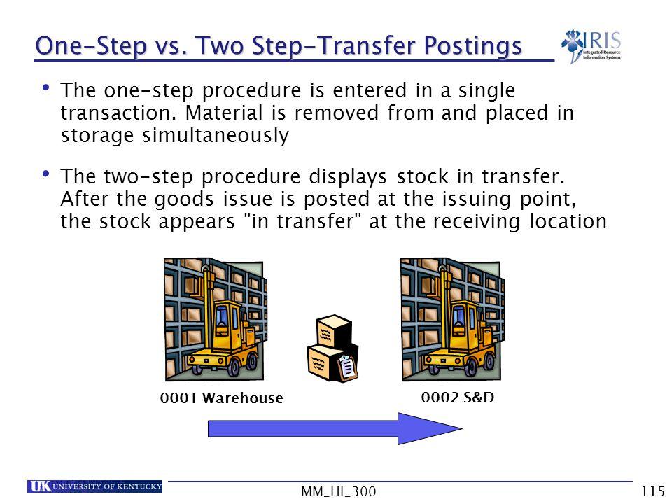 One-Step vs. Two Step-Transfer Postings