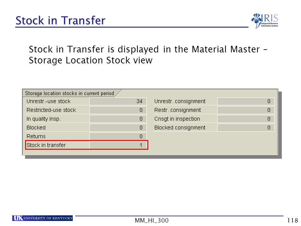 Stock in Transfer Stock in Transfer is displayed in the Material Master – Storage Location Stock view.