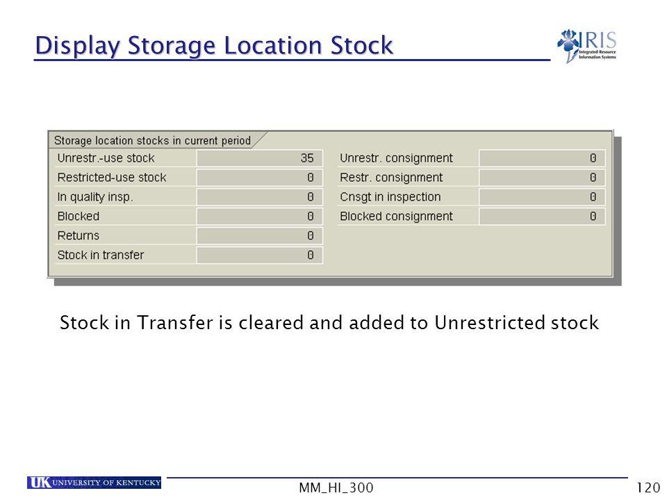 Display Storage Location Stock