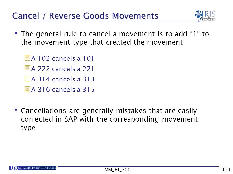 Cancel / Reverse Goods Movements
