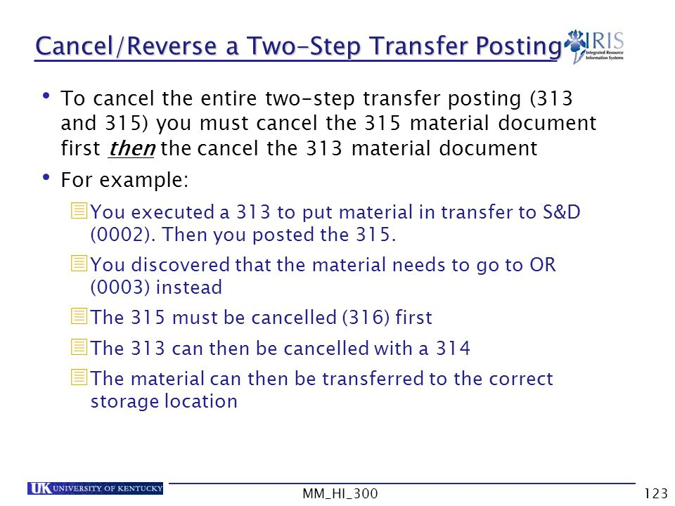 Cancel/Reverse a Two-Step Transfer Posting
