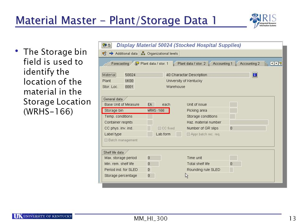 Material Master - Plant/Storage Data 1