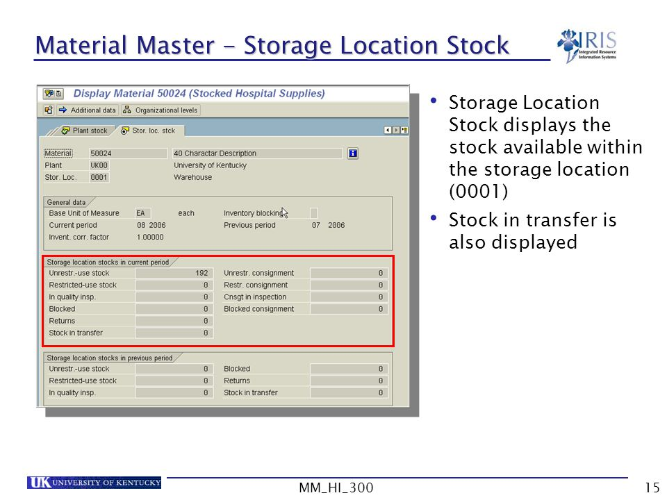 Material Master - Storage Location Stock
