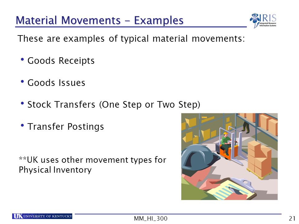 Material Movements - Examples