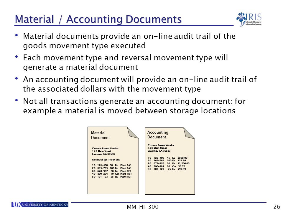 Material / Accounting Documents