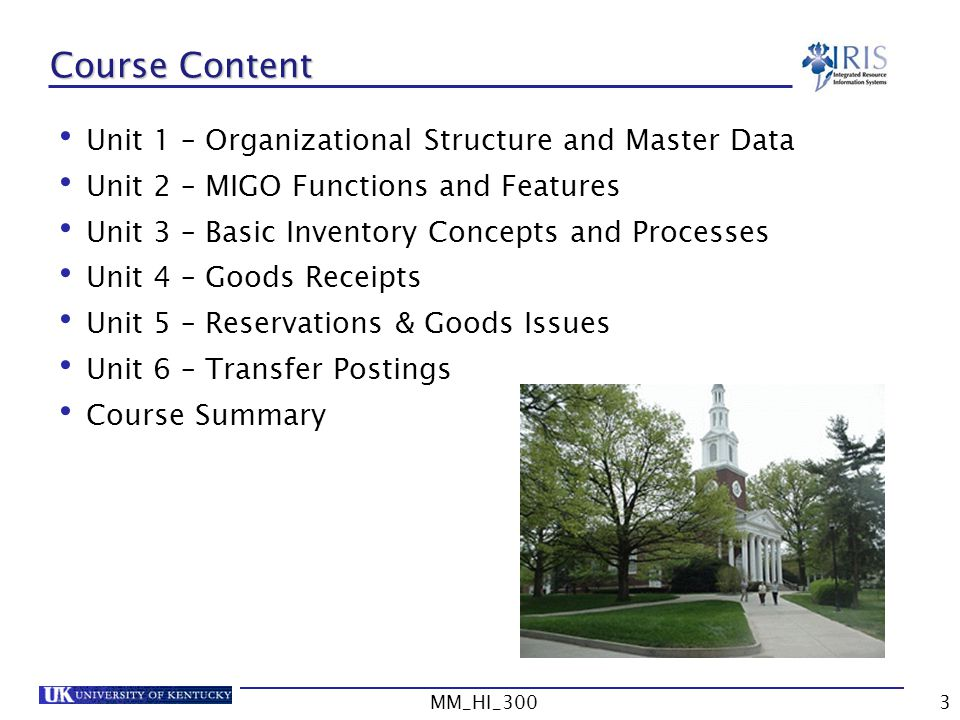 Course Content Unit 1 – Organizational Structure and Master Data