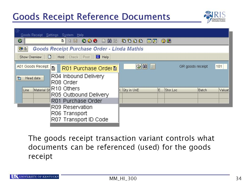 Goods Receipt Reference Documents