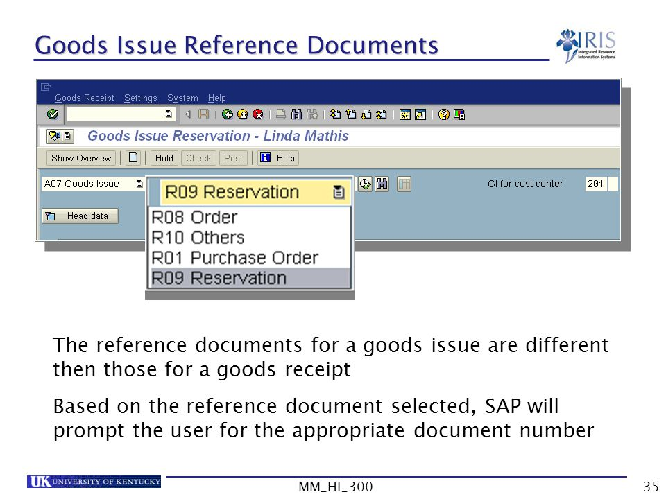 Goods Issue Reference Documents