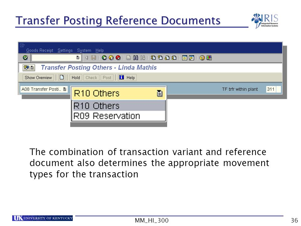 Transfer Posting Reference Documents