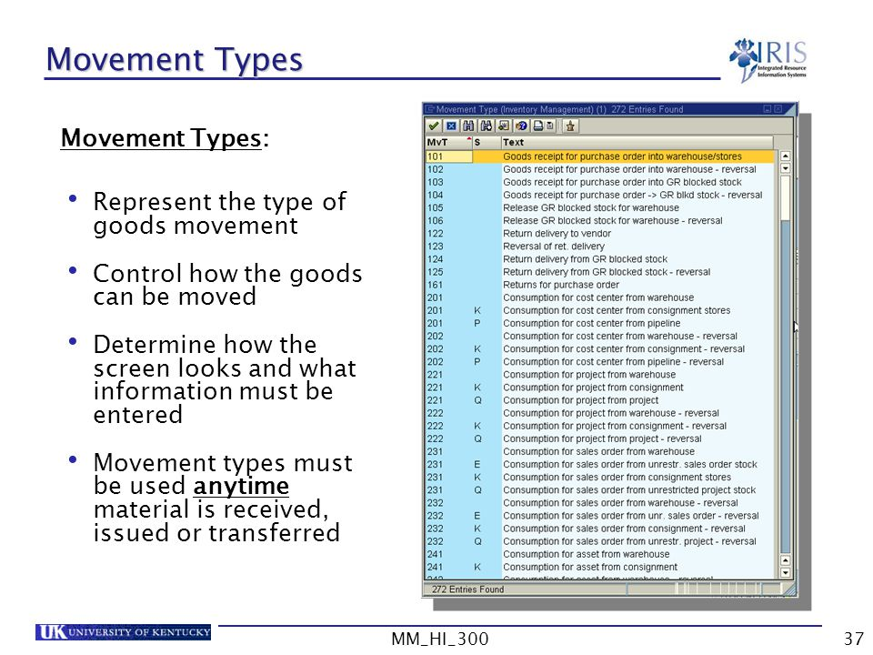 Movement Types Movement Types: Represent the type of goods movement
