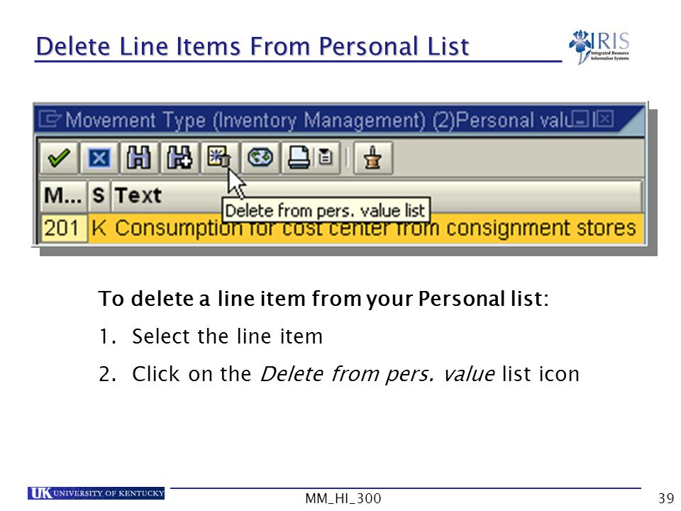 Delete Line Items From Personal List