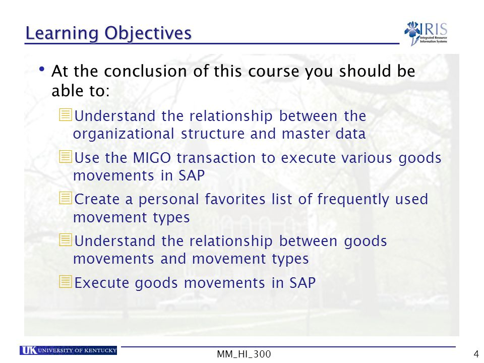 Learning Objectives At the conclusion of this course you should be able to: