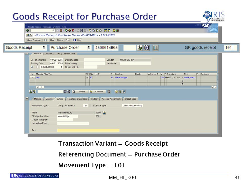 Goods Receipt for Purchase Order