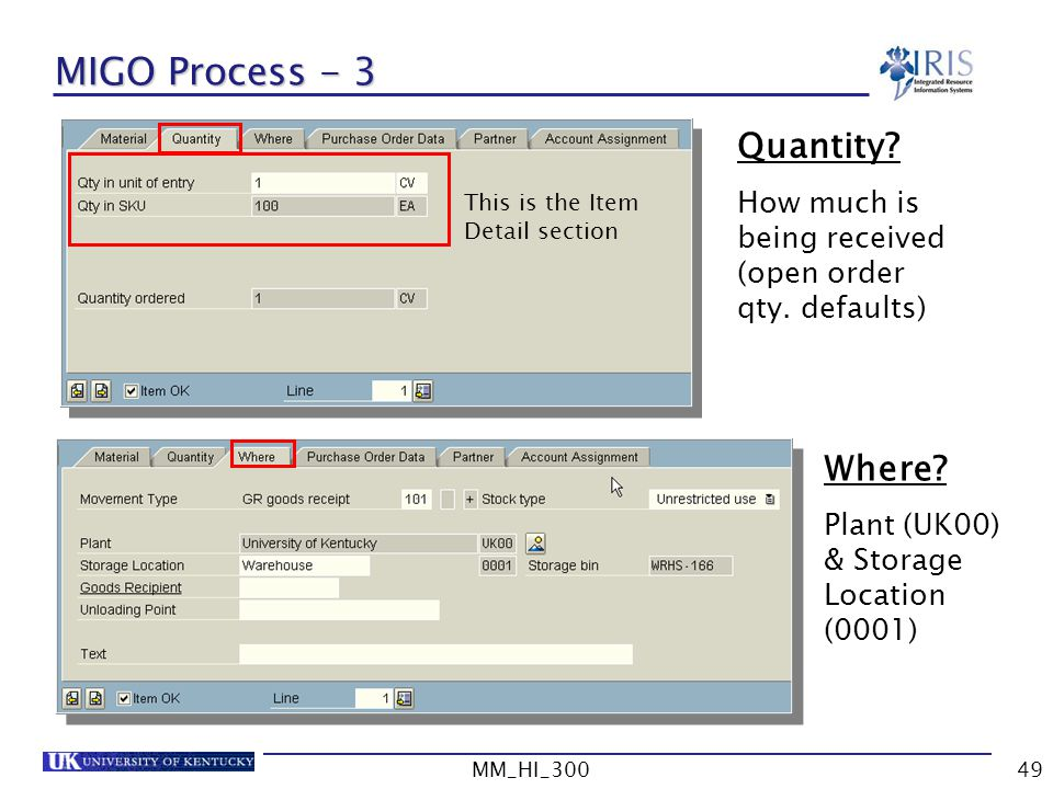 MIGO Process - 3 Quantity Where