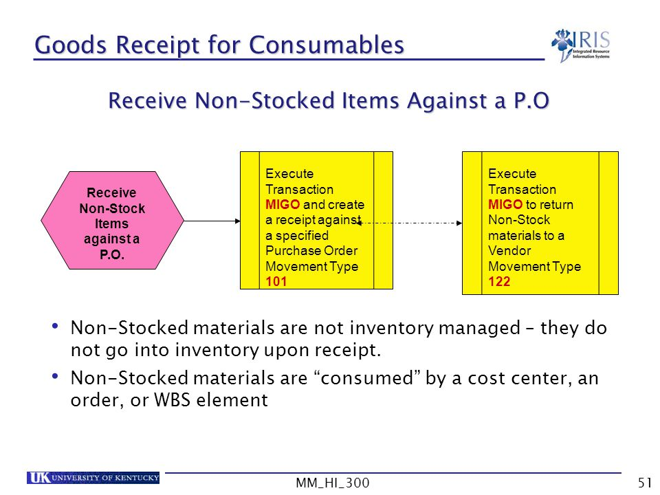 Goods Receipt for Consumables