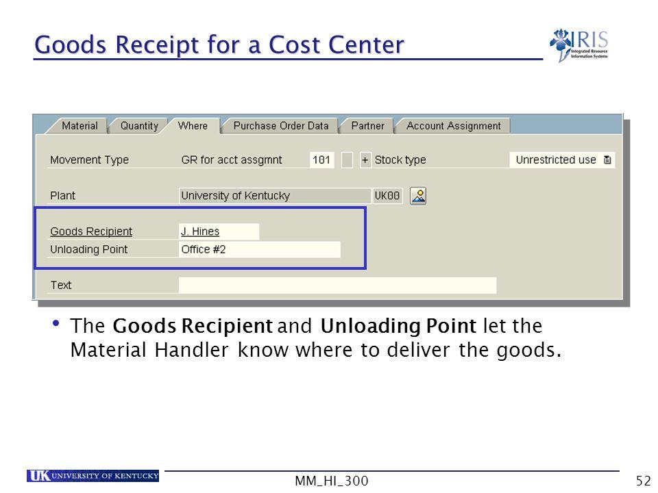 Goods Receipt for a Cost Center